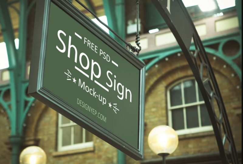 Classic Store Sign Mockup PSD