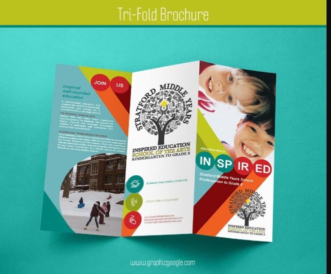Clean Tri Fold Brochure Mockup PSD
