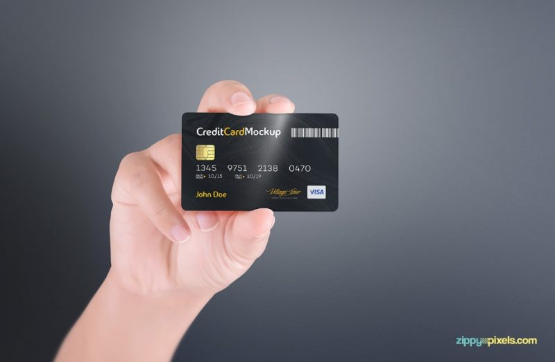 Credit Card in Hand Mockup