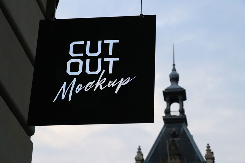 Cut Out Store Sign Mpckup