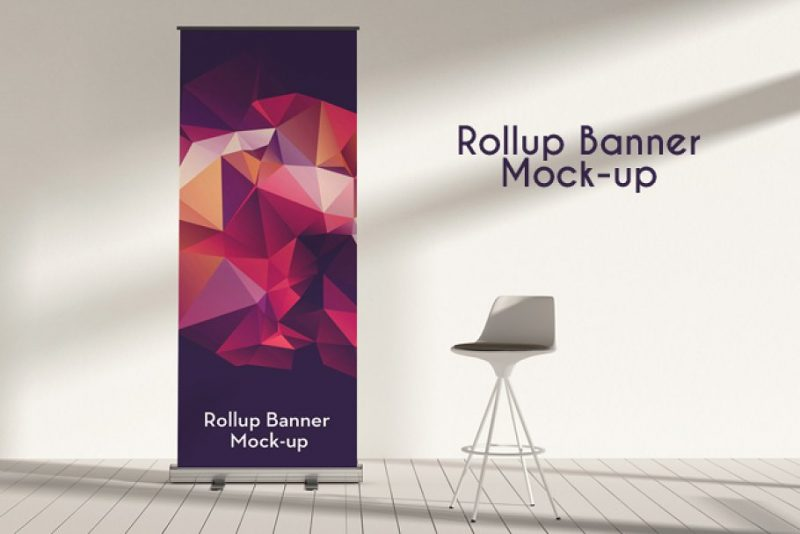 Easy Editable Roll Up Banner Ad Mockup