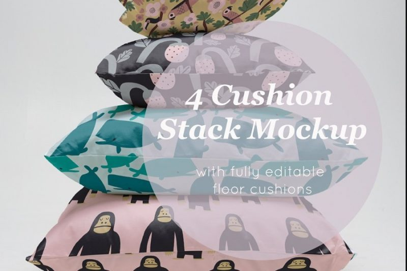 Editable Cushion Stack Mockup PSD