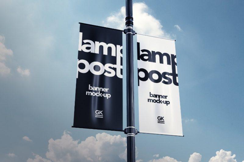 Editable Lamp Post Mockup PSD