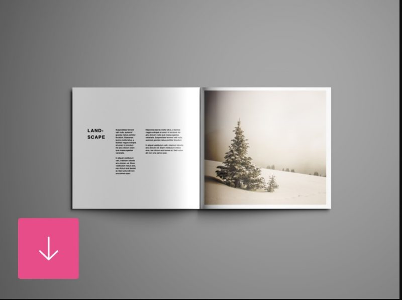 Editable Open Square Brochure Mockup