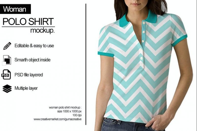 Editable Women Polo Shirt Mockup