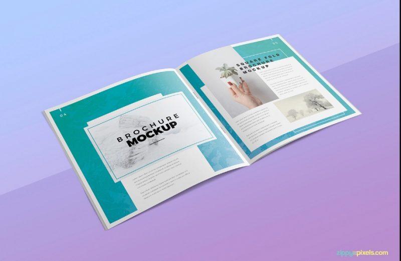Elegant Square Brochure Mockup PSD