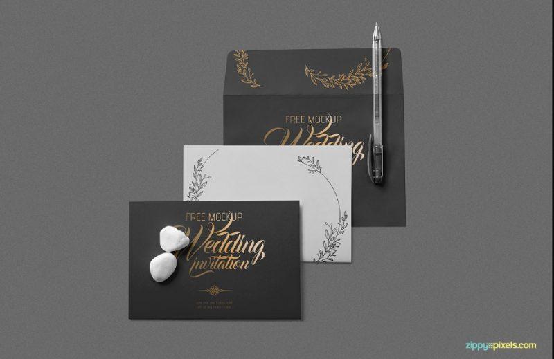 Elegant Wedding Invitation Mockup PSD