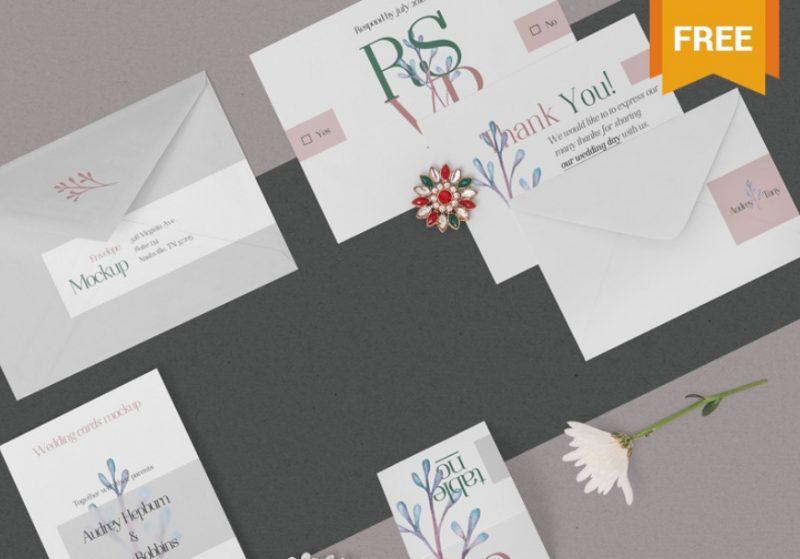 Elegant Wedding Suite Mockup PSD