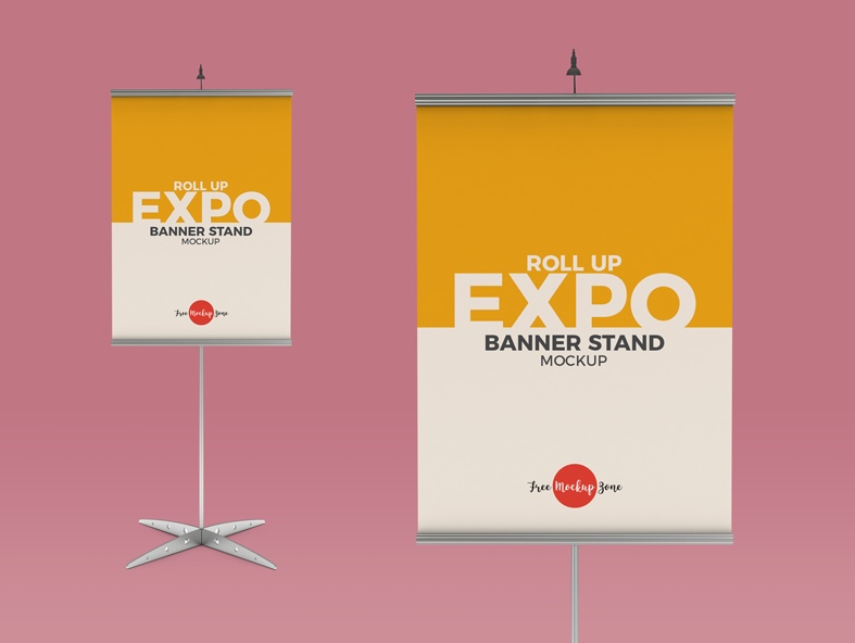 Expo Banner Stand Mockup PSD