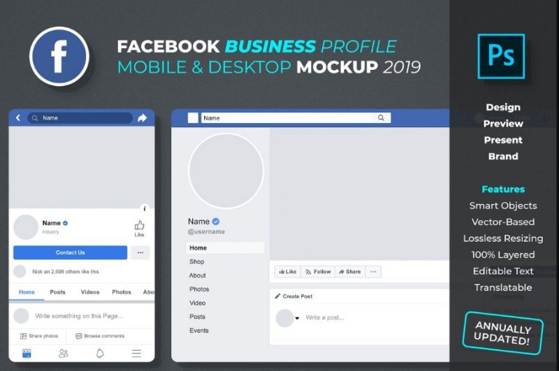 Facebook Page Mockup PSD