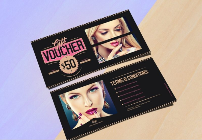 Fashion Gift Voucher Template and Mockup