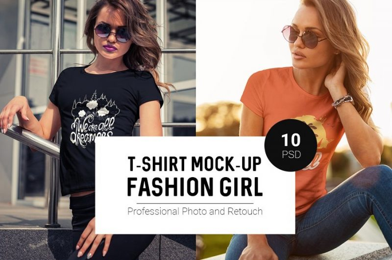 Fashion Girl T Shirt Mockup PSD