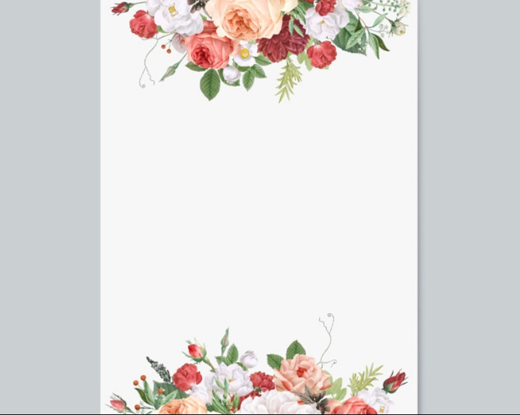 Floral Wedding Card Mockup PSD