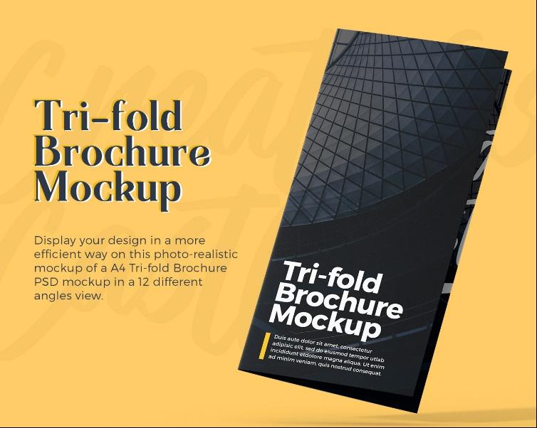 Free A4 Tri Fold Brochure Mockup PSD