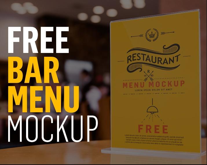 Free Bar Menu Mockup PSD