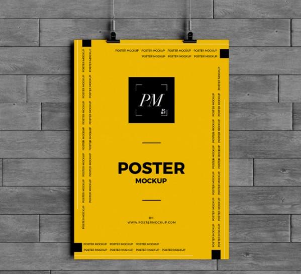 Free Hanging Wall Poster Mockup PSD