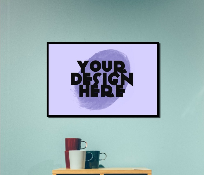 Free Horizontal Interior Poster Mockup