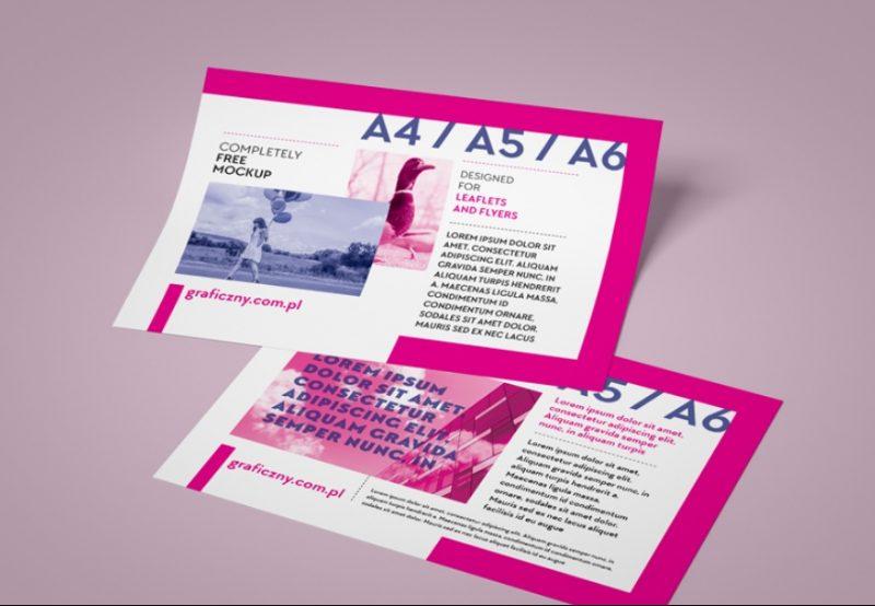 Free Horizontal Leaflet PSD Mockup