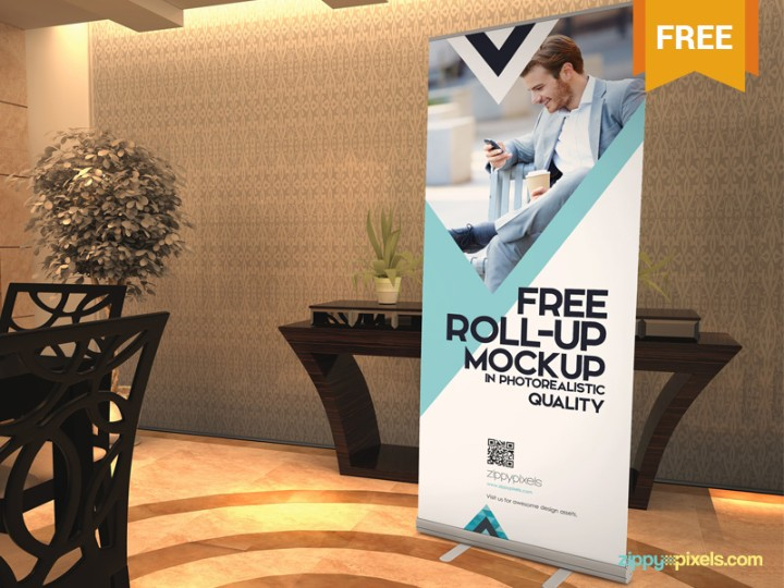 Free Realistic Roll Up Banner Mockup