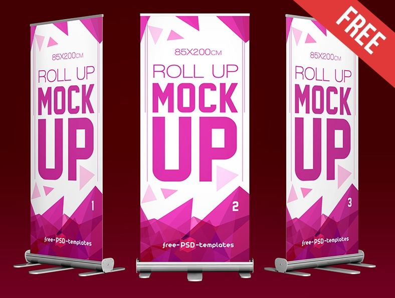 Free Roll Up Banner Ad Mockup