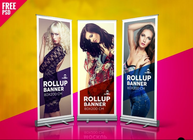 Free Roll Up Banner Mockup PSD