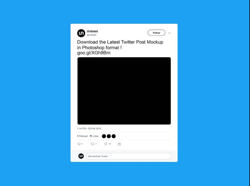 Free Twitter Post Mockup PSD