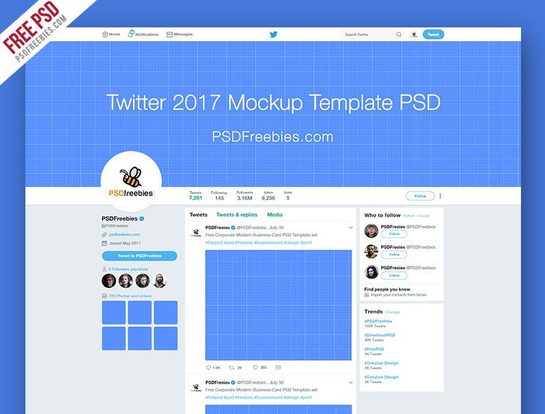 Free Twitter Profile Mockup PSD