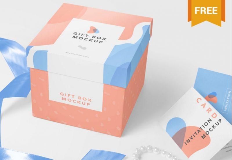 Gift Box and Card Mockup