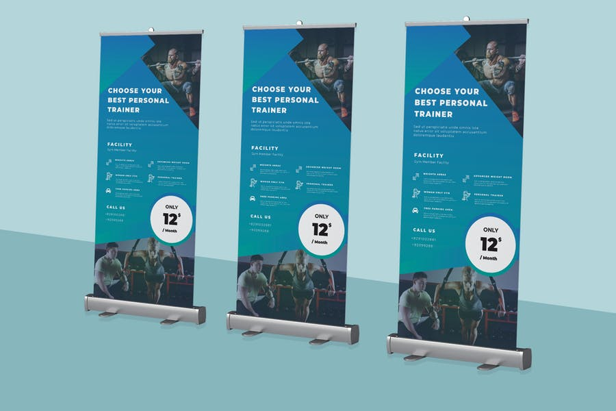 Gym Roll Up Banner Mockup