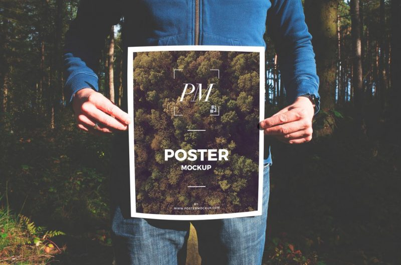 Holding Poster Mockup PSD