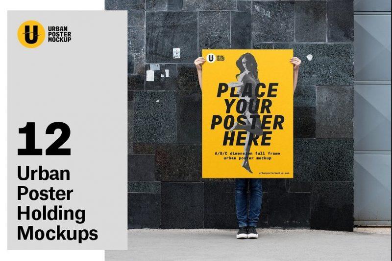 Holding Urban Poster Mockup PSD