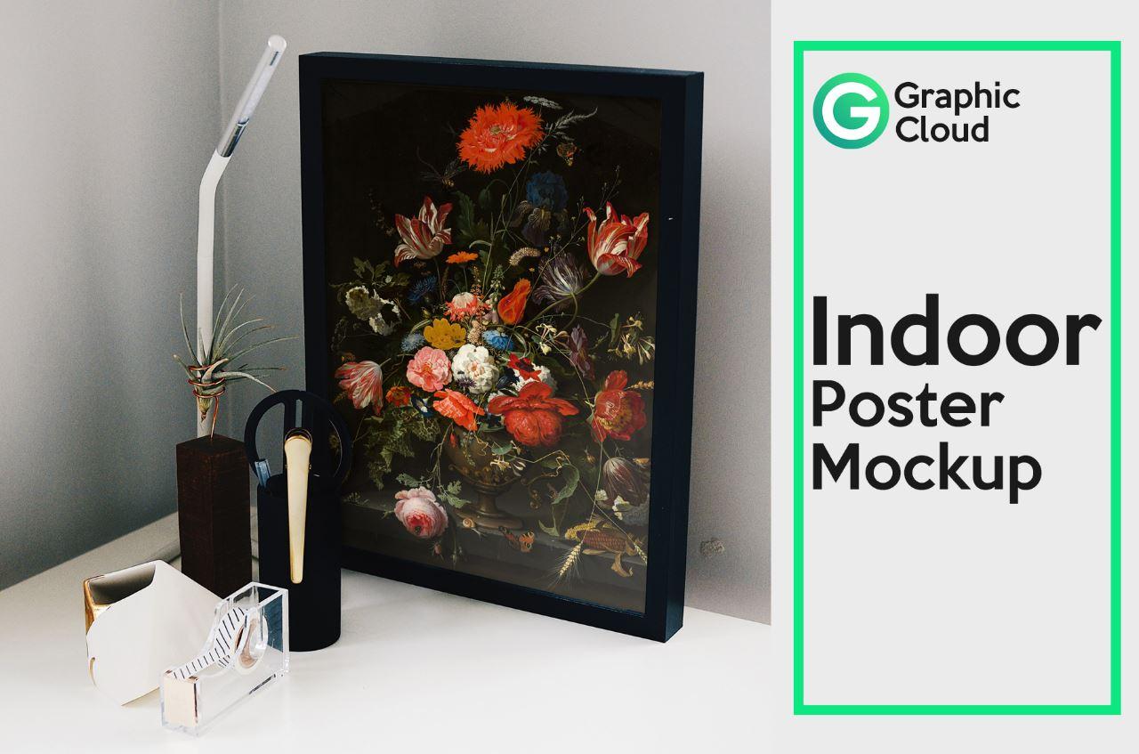 Indoor poster mockup PSD