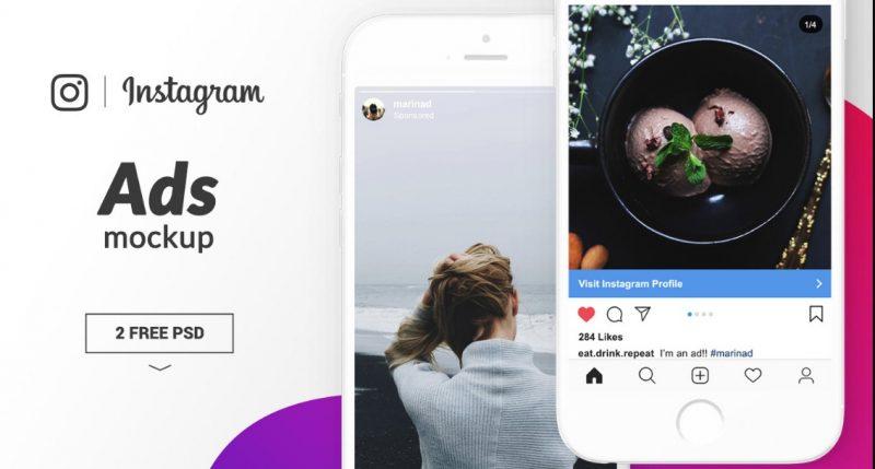 Instagram Ad Mockup PSD Free
