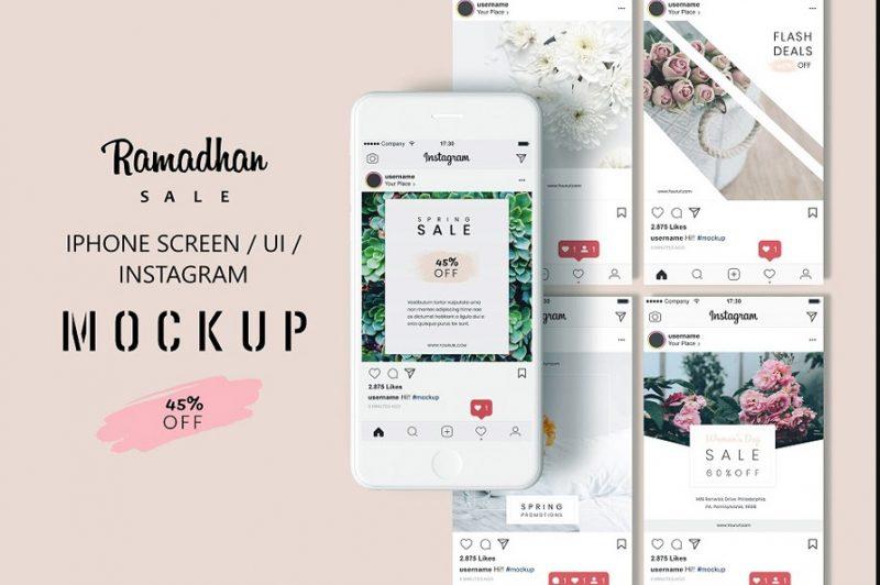 Instagram iPhone Screen Mockup PSD