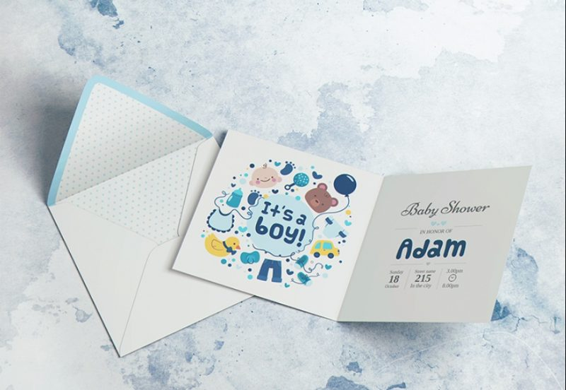 Square Invitation Card Mockup PSD