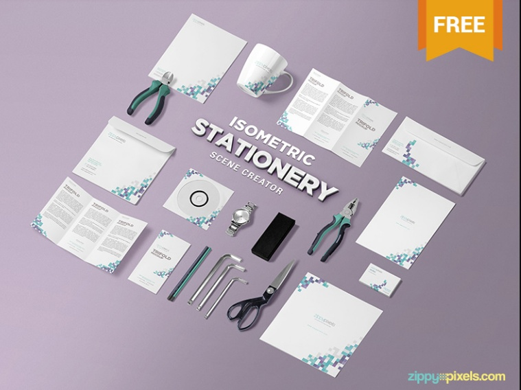 Isometric Stationary Mockup PSD