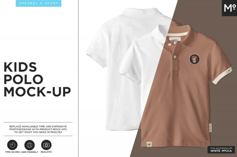 Kids Polo Shirt Mockup PSD