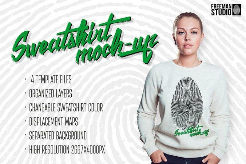 Ladies Sweatshirt Mockup PSD