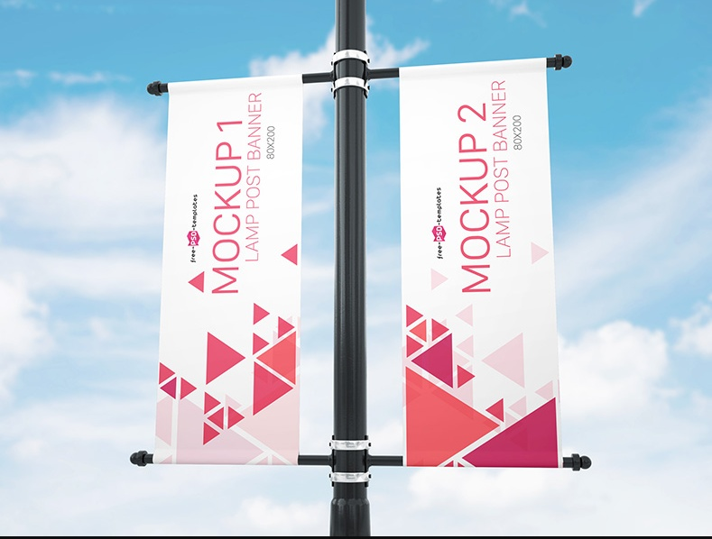 14 Lamp Post Banner Mockup Psd Free Download Graphic Cloud