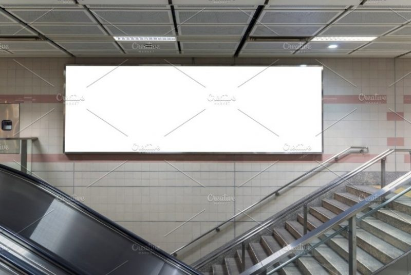 Large Subway Poster Mockup PSD