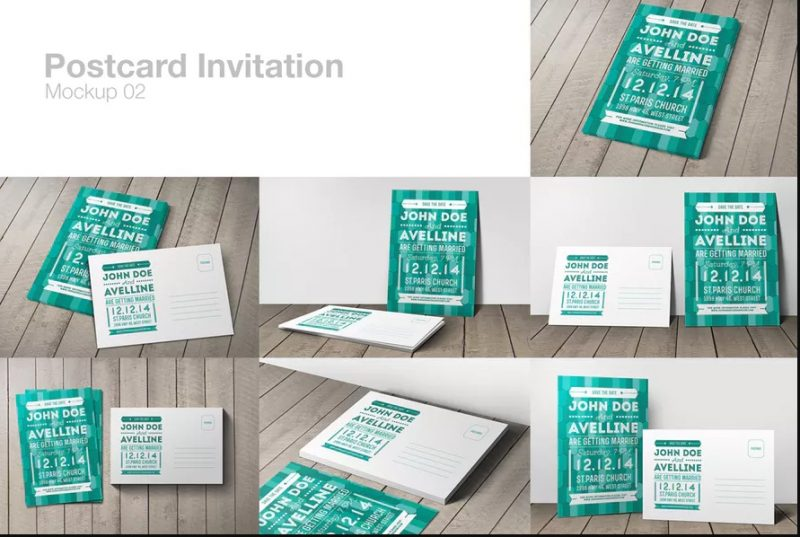 Layered Postcard Invitation Mockup