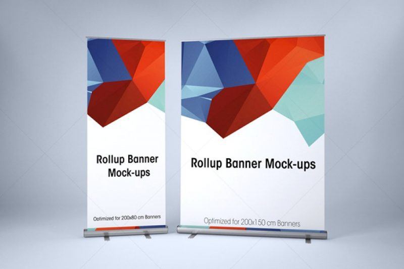 Layered Roll Up Banner Mockup PSD
