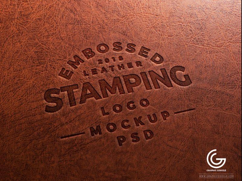 Leather Embossed Logo Mockup PSD