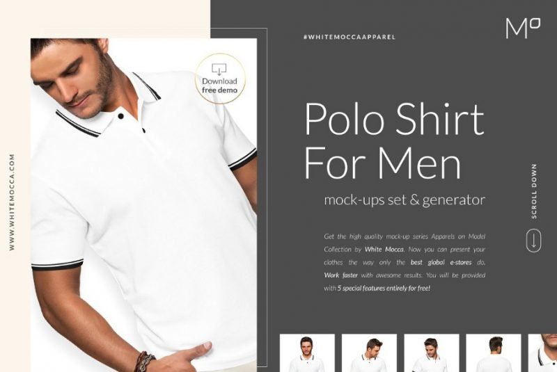 Men Polo Shirt Mockup PSD