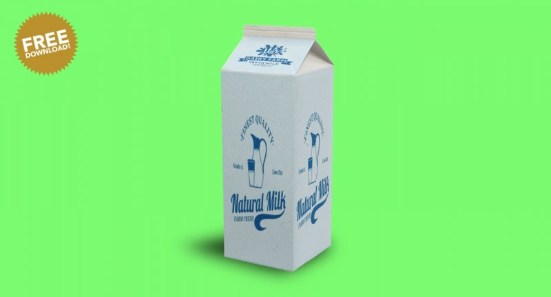 Milk Packaging Packaging Mockup PSD