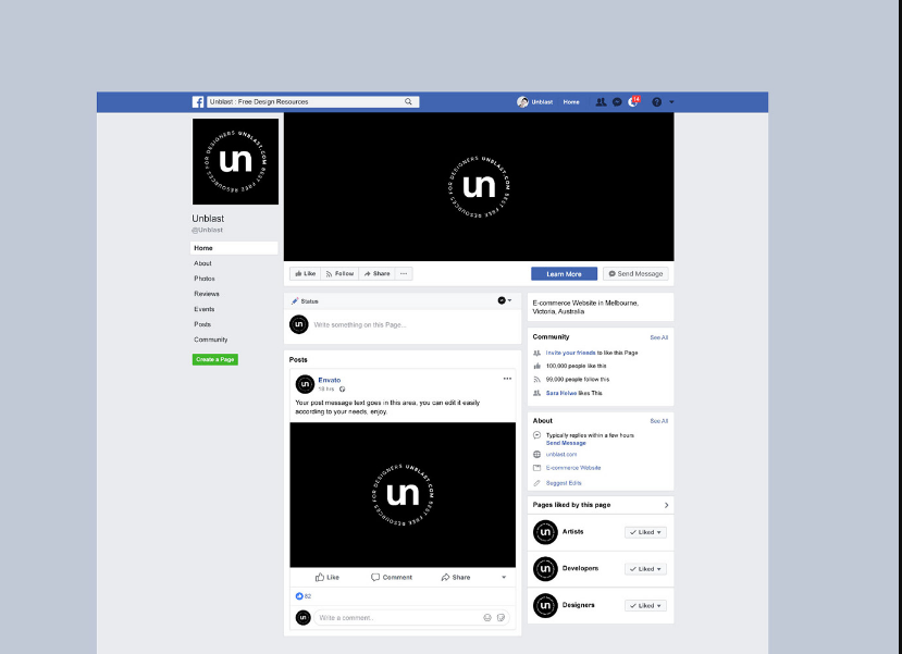 Minimal Facebook Page Mockup