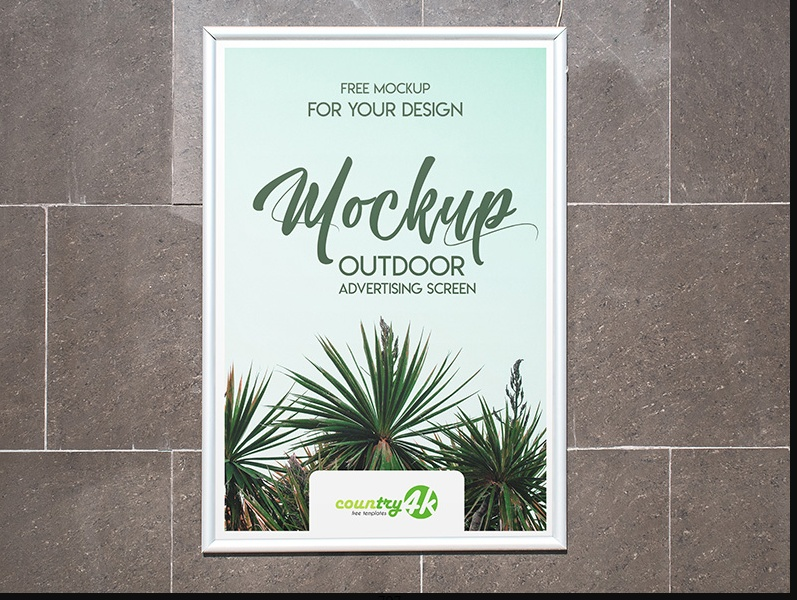 Outdoor Poster Mockup PSD free