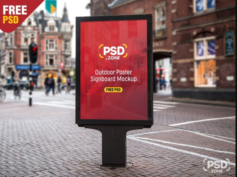 Outdoor Signboard Mockup PSD free