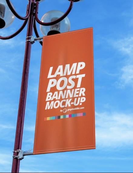 PSD Lamp Post Banner Mockup