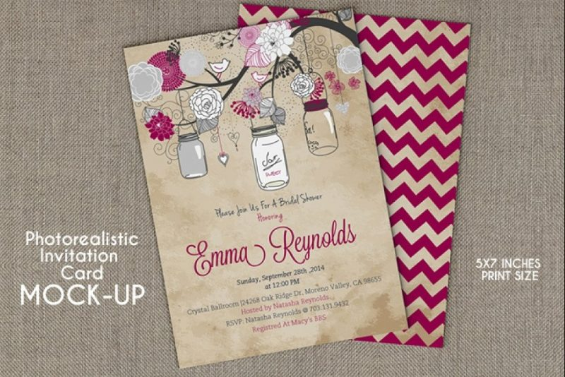 Photo Realistic Invitation Mockup PSD